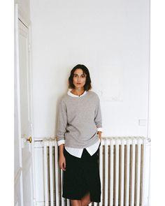 From La Garçonne / The Interlude  R13 / Oversized Shirt  R13 / Kate Sweatshirt  Apiece Apart / Paulina Paperbag Slit Skirt