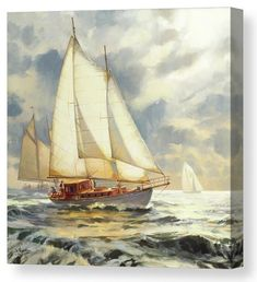 Ahead of the Storm, sailboat canvas art print from Steve Henderson Collections. The clouds are brooding, the ocean waves turning choppy, the wind gathering its billows and blowing in a storm. Is this the time to ride it out? Or is it the time to sail quickly to harbor, reaching shore before the storm does? A series of sailboats on a blustery day think twice about the day's outing -- it could be a wild adventure, or it could be . . . just wild. #sailboat #sailing #ocean #coastal #storm #art