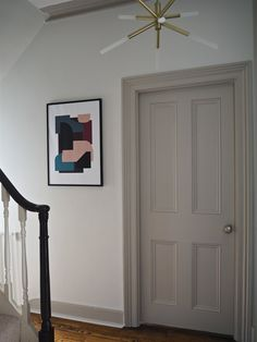 This hallway reveal is really a tale of two designs. The upstairs landing is pretty, pink and floral as planned (you can Grey Interior Doors, Interior Door Colors, Interior Door Styles, Painted Interior Doors, Grey Doors, Dark Doors, Upstairs Landing, Upstairs Hallway, Rellano
