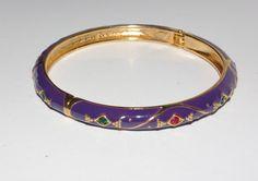 Signed Mardi Gras Hinged Bangle Bracelet by by MardiGrasShoppe