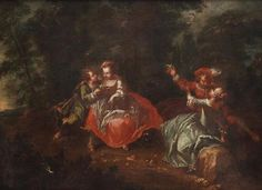 Follower of Jean-Baptiste Pater, Two amorous couples in a landscape,