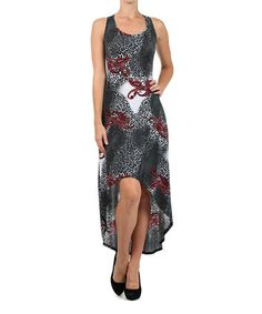 Another great find on #zulily! Red & Black Paisley Hi-Low Dress #zulilyfinds