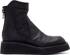 $1,000, Black Leather Chelsea Boots: Ma Julius Black Leather Perforated Boots. Sold by SSENSE. Click for more info: https://lookastic.com/men/shop_items/289547/redirect