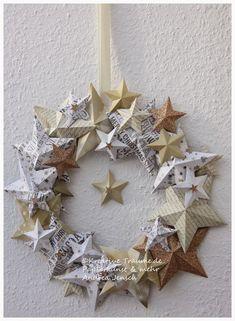 Kreative Träume - Paper Art & more: Mein Weihnachtsdekor 2014 - W-bazar - Weihnachten Christmas Makes, All Things Christmas, Winter Christmas, Christmas Holidays, Christmas Wreaths, Christmas Ornaments, Diy And Crafts, Paper Crafts, Navidad Diy