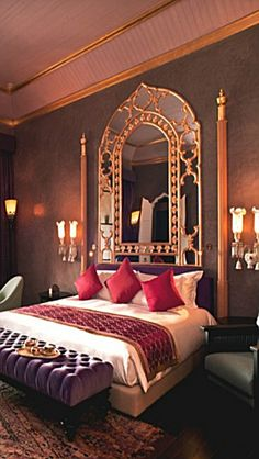 Exotic and Luxury Arabian Bedroom Ideas. Arabian bedroom design or better known as Arabian style is very unique. Namely a room space designed in Arabian style. Usually this design is synonymo. Indian Themed Bedrooms, Indian Bedroom Decor, Moroccan Home Decor, Moroccan Bedroom, Bedroom Themes, Bedroom Ideas, Themed Rooms, Moroccan Lanterns, Moroccan Interiors