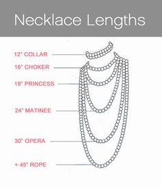 """Pearl Collar 12"""" To 14"""" are usually made up of three or more pearl strands & lie snugly on the middle of the neck. A Pearl Collar is best suited for v-neck, boat neck or off the shoulder necklines. Pearl Choker 14"""" To 16"""" Long. A Pearl Choker is the most classic & versatile of all the single strand pearl lengths. A Pearl Choker can be worn with any outfit from casual to formal wear & any neckline."""