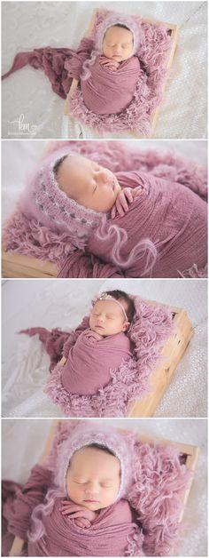 Pink newborn picutres of baby in basket - cute girly newborn shots