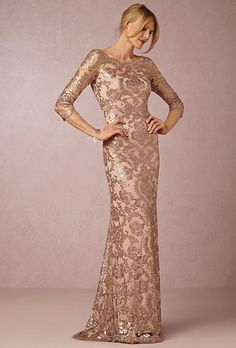 """Yvonne"" sequined gown with scalloped neckline, $498, BHLDN"