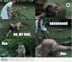 Nooooo, my bike   TWD  Zombies have feelings too