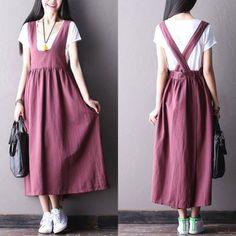 Shop Dresses at Modest Fashion, Hijab Fashion, Korean Fashion, Fashion Dresses, Linen Dresses, Cute Dresses, Casual Dresses, Cute Outfits, Look Fashion