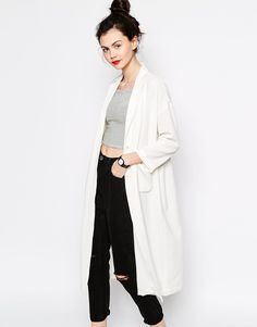 Monki Duster Coat, NEED: Great pair of black high waisted jeans, and a looong white cardi!