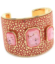 "This cuff-style fashion bracelet is constructed of fabric and crystal stone. The bracelet is textured and metal casting. Size: 2"" Width - Color: Pink $19.99"