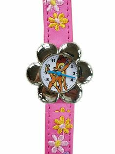 """Disney spring jim Bambi Watch- Embroidered band Wrist Watch by disney. $22.50. dial measures 0.75"""" diam (2cm). embroidered leather band, total 8"""" L (20cm). Fits teenager and kid. stainless steel back, water resistant construction. brand new"""