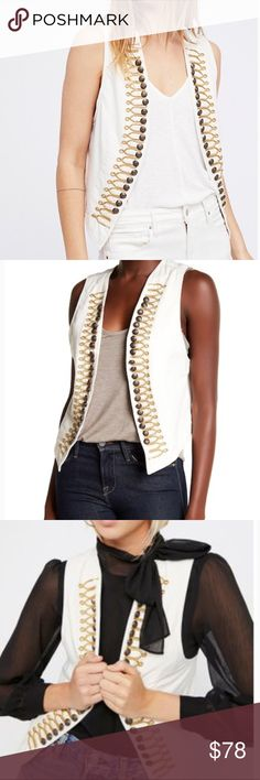"TOP RATED Free People Shrunken Military Vest Sz. S *NWT* Free People ⭐️Top Rated⭐️ Military Vest. Cropped vest featuring a military-inspired look with Embroidered details and etched button accents. Striped lining. 100% cotton. Bust (each): 8.5"" Length: 22"" Free People Jackets & Coats Vests"