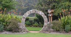 Moon Gate designed and constructed by The Stone Man, South Carolina. stonemanrocks.com
