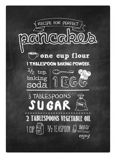 Perfect Pancake Recipe, canvas print, perfect for your kitchen wall. $83.00, via Etsy.