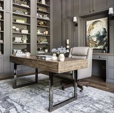 Home Office Setup, Home Office Design, Gray Home Offices, Metal Desk Legs, High Fashion Home, Great Rooms, Dining Bench, Entryway Tables, Sweet Home