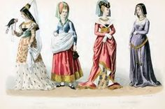Middle ages costume history. Fashion during 14th to 15th century.
