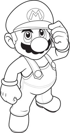 super mario picture to color for print
