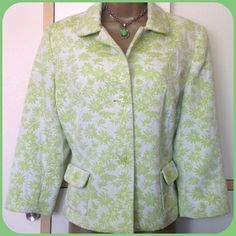 "Pretty Spring Brocade 3/4-Sleeve Jacket NWOT Check out the buttons! Nothing will say ""spring"" like this medium-weight, fully lined jacket!  Off-white background with spring-green flowers all over -- and did I mention the buttons?  Shorter hip-length and 3/4-length sleeves.  Size 14 but fits a little small.  Never worn! NWOT Hillard & Hanson Jackets & Coats"