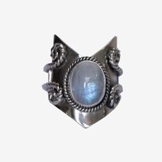 Large Chevron Moonstone Ring in 925 Sterling Silver