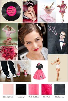 50s Retro Hot Pink Black Soda Shoppe Inspiration Board