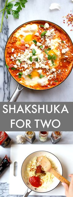 Eggs in Purgatory (or Shakshuka). Poached eggs in a spicy tomato sauce. Brunch or breakfast for two.
