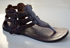 Gladiator Inspired Leather Sandals - Dark Brown - Handmade Sandals , Gladiator Sandals, Ladies, Mens, Custom made - ALL SIZES. $65.00, via Etsy.