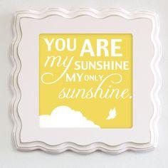 You Are My Sunshine Art for Children, Nursery Wall Prints, Art Set, 8x8