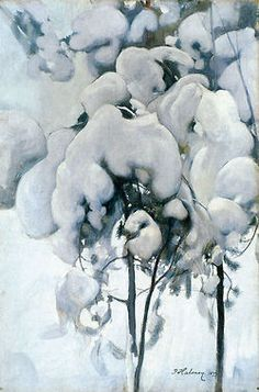 Snow-Covered Pine Seedlings, 1899 by Pekka Halonen (Finnish, Winter Landscape, Landscape Art, Landscape Paintings, Romantic Paintings, Old Paintings, Winter Trees, Winter Art, Nostalgic Pictures, Winter Magic