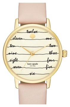kate spade new york kate spade 'time on wire' leather strap watch, 34mm available at #Nordstrom