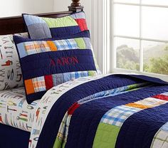 Aaron Quilted Bedding #pbkids  Though there is already a comforter going on the bed, a quilt can work for those chillier nights (because they do happen in texas ;) ) as well as be rolled down for the completion of the room's theme. The patterns in the quilt play on the colors in the sheets and add color to the room that the comforter alone cannot do Cot Quilt, Twin Quilt, Big Boy Bedrooms, Kids Bedroom, Boy Rooms, Kids Rooms, Bedroom Ideas, Master Bedroom, Little Boys Rooms