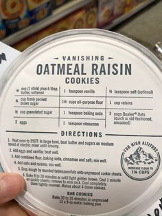 """""""Do you have a favorite cookie/granola recipe? I'm in the mood to bake! Quaker Oatmeal Raisin Cookies, Oatmeal Cookie Recipes, Cookie Desserts, Quaker Oatmeal Cookie Recipe, Vanishing Oatmeal Cookies, Old Recipes, Vintage Recipes, Sweet Recipes, Baking Recipes"""