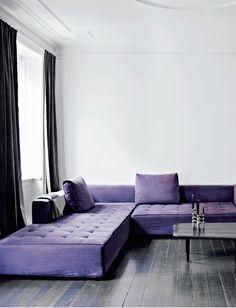 Danish apartment interior - #minimal #violet #couch #interiordesign #homedecor #josephcarinicarpets