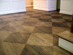 Checkerboard Wood Floor Kitchen floors Woods and Kitchens Staining Wood Floors, Painted Wood Floors, Concrete Floors, Hardwood Floors, Wood Flooring, Parque Flooring, Stain Wood, Acid Stain, Plywood Floors