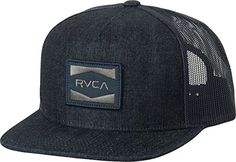 0f37956a359f42 RVCA Men's Cedars Trucker Hat, Blue Denim, One Size