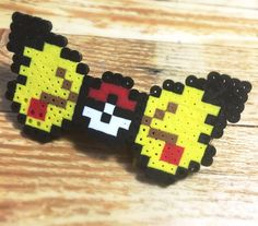 Pokemon Pikatchu Perler Hair Bow (w/ clip): hair accessory, perler beads, anime, EDC, rave, kandi