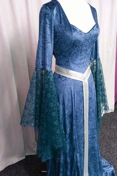 Fae dress woodland dress teal elven gown medieval gown