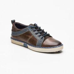 Sneakers cuero marrón oscuro y azul petróleo