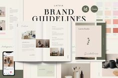 Latvia Brand Guidelines is a professional guidelines layout for studio, creative business and entrepreneur. With layered imagery, bold graphic elements and flashes of color. The layouts are minimal, beautifully spaced and elegant.It's perfect for Artists, Designers, Architects, Costume Designers, Art directors, Advertising creative, Stylists, Photographers, Marketers, Creatives #CANVA #Brand #Guidelines #Template #Creative #Business Branding Kit, Branding Design, Brand Guidelines Template, Brand Manual, Business Logo, Business Entrepreneur, Indesign Templates, Brand Style Guide, Graphic Design Studios
