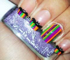 Bat Striped French Tip Halloween Nails, 31 Days of Halloween Nail Art | NailIt! Magazine