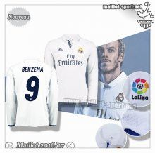 Maillots-Sport: Créer Un Maillot Foot Real Madrid Manche Longue Benzema 9 Domicile 2016 2017