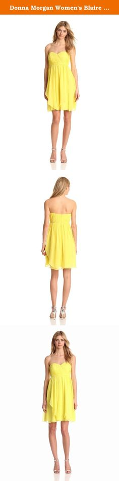 Donna Morgan Women's Blaire Sweetheart Top Dress, Lemonade, 14. Sweetheart multi directional bustier with skirt panels.