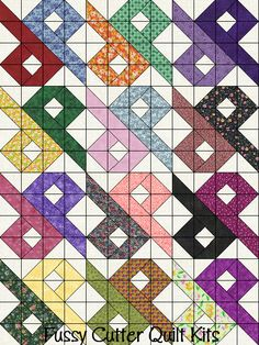 Scrappy Fabric Chinese Puzzle Patchwork Pattern Easy Pre-Cut Quilt Blocks Kit