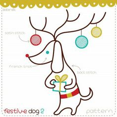 Festive dog 2 - because one can never embroider too many dachshunds wearing antlers
