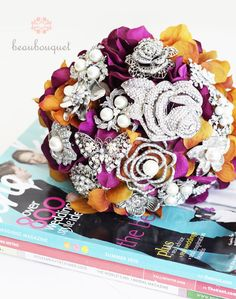 purple and gold brooch bouquet? DIY and save?