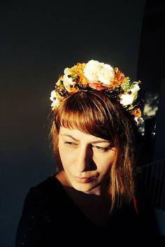 Oranžovobiela parta s chmelom / Martinuska - SAShE. Handmade Headbands