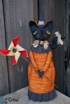 Textile Doll PDF Digital Pattern 'Betty the Cat Witch' Halloween Home Decor