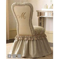 ~ Every Southern Belle needs this vanity chair!I dearly love it - the style, ruffles monogram.I believe it is quite the most beautiful little vanity chair I've ever laid eyes on.