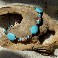 Turquoise and copper bracelet featuring blue by royalbaubles, $21.00